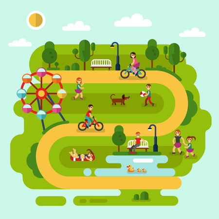 children pond: Flat design summer landscape illustration of park with sunbathing girl, ferris wheel, road, bench, walking people, cyclists, pond with ducks, boy with ball, children playing with dog.