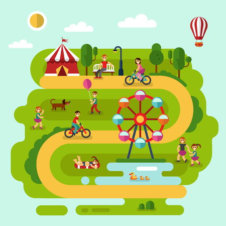 children pond: Flat design summer landscape illustration of amusement park with air balloon, ferris wheel, road, bench, walking people, cyclists, pond with ducks, boy with balloon, children playing with dog. Illustration