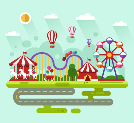 cartoon carnival: Flat design summer landscape illustration of carnival or amusement park with air balloons, carousel with kid, ferris wheel, roller coasters, road. Festival, carnival, circus concept. Illustration