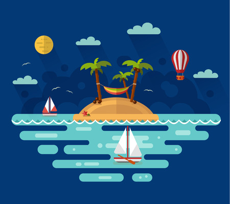 maldives island: Flat design nature night landscape illustration with tropical island, moon, palm, coconut, hammock, sailing boat, air balloon. Summer vacation on tropical island. Perfect holidays concept.