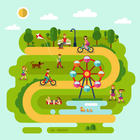 children pond: Flat design summer landscape illustration of park with sunbathing girl, ferris wheel, road, bench, walking people, cyclists, pond with ducks, boy with kite, children playing with dog. Illustration