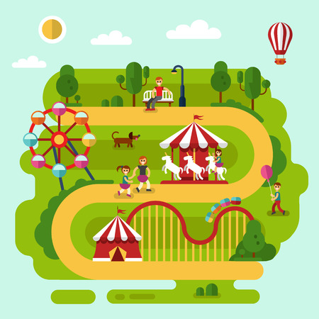 thrill: Flat design summer landscape illustration of amusement park with air balloon, carousel with kid, ferris wheel, roller coasters, road, bench with men, walking people, boy with balloon, dog.