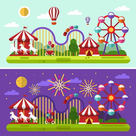 carousel horse: Flat design day and night landscape illustration of carnival or amusement park with air balloons, sky full of firework lights, carousel, ferris wheel, roller coasters. Festival concept.