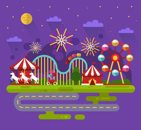 festival of lights: Flat design night landscape illustration of carnival or amusement park with sky full of firework lights, carousel, ferris wheel, roller coasters, road. Festival, carnival, circus concept.