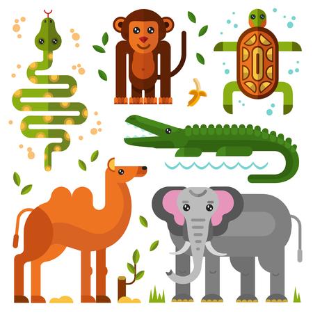 primeval: Flat geometric illustration set of jungle or exotic animals. camel, elephant, smiling monkey or gorilla with banana, turtle, snake, crocodile with big teeth. Wild nature concept.