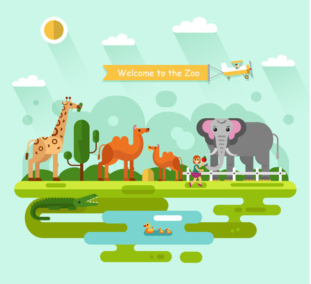 colt: Flat design illustration of animals in the Zoo. Elephant with apple, giraffe eating leaves of tree, camel, crocodile and family of bird in the pond. Airplane with banner. Illustration