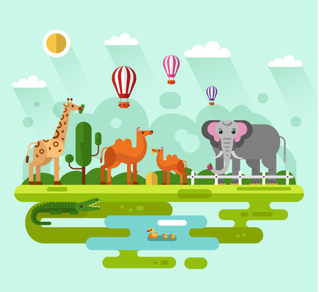 humped: Flat design illustration of animals in the Zoo, infographics concept. Elephant with apple, giraffe eating leaves of tree, camel, crocodile and family of bird in the pond. Illustration