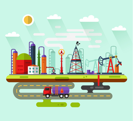 oil industry: flat style infographic of oil extraction industry. Including rig, pumping station, storage, factory, road, truck tanker, petroleum refinery, smoke from the chimney, clouds, sun.
