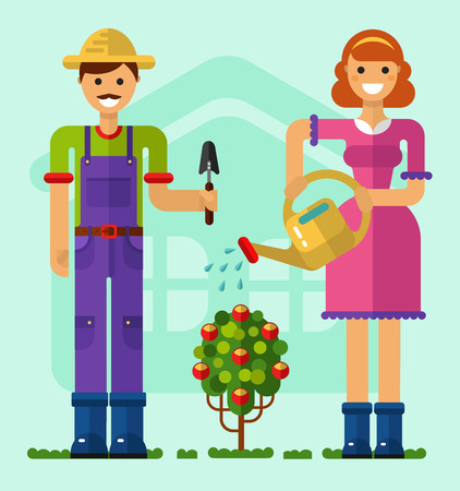 Vector flat style illustration of gardener with mustache and girl taking care of garden with shovel, watering can. Beautiful woman watering the rose bush. Gardening and agriculture concept.
