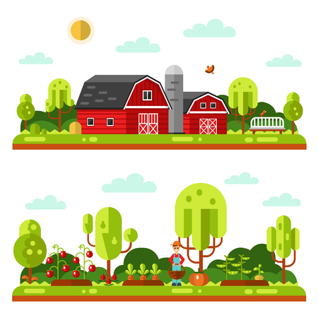 Flat design vector landscape illustrations with farm building, barn. Garden with beds of carrots, peas, tomatoes, pumpkin. Gardener with basket. Farming, agricultural, organic products concept. Illustration