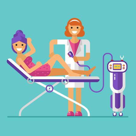 corte laser: ilustración de diseño plano de la depilación o depilación procedimiento
