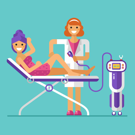 flat design illustration of epilation or depilation procedure Stock Illustratie