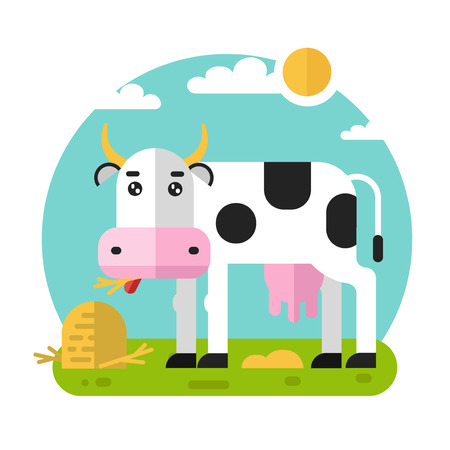 Flat design geometric illustration of funny cow eating stack of hay and branches on the meadow. Including sun, grass, clouds.