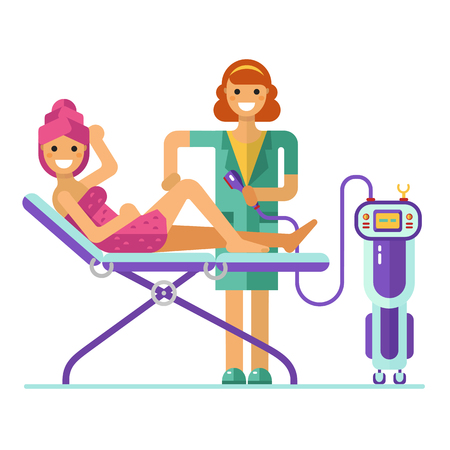 procedure: flat design illustration of epilation or depilation procedure. Cosmetologist or beautician depilating legs of beautiful girl in towels. Process of Laser, electro or Photo epilator hair removal