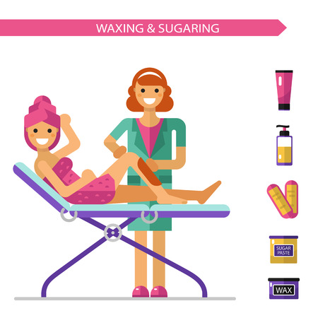 beautician: flat design illustration of epilation or depilation procedure. Cosmetologist or beautician depilating legs of beautiful girl in towels. Bottle of wax, sugaring, wax strips icons