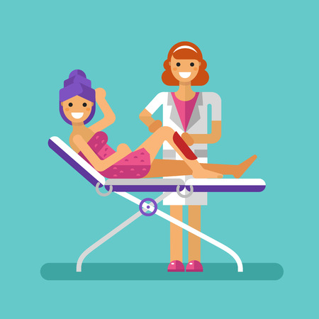 waxing: flat design illustration of epilation or depilation procedure. Cosmetologist or beautician depilating legs of beautiful girl in towels. Waxing or sugaring process with strips. Hair removal.