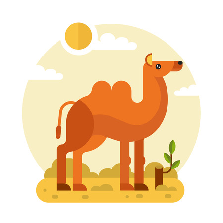 Flat design geometric illustration of cute Bactrian or two-humped camel and stump with a branch in the hot Desert. Including sun, sand, clouds, leaves. Animal in the wild nature concept.