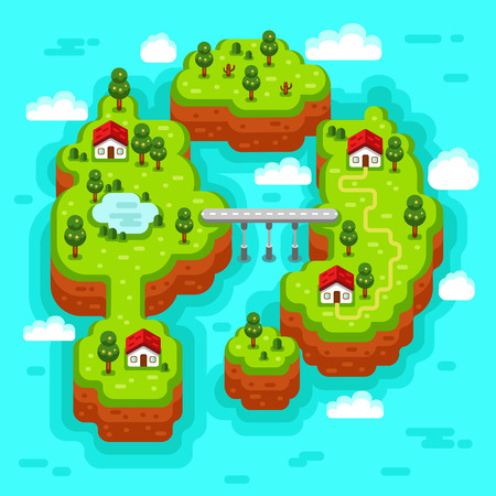 rural road: flat style isometric 3d stock illustration of landscape with sea, islands, bridge and road, rural, fishermen village, trees and pond.