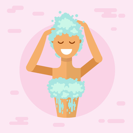 haircare: Flat illustration of beautiful smiling girl in lather washing her hair with shampoo in bathroom and enjoying. Flat style body and hair care concept.