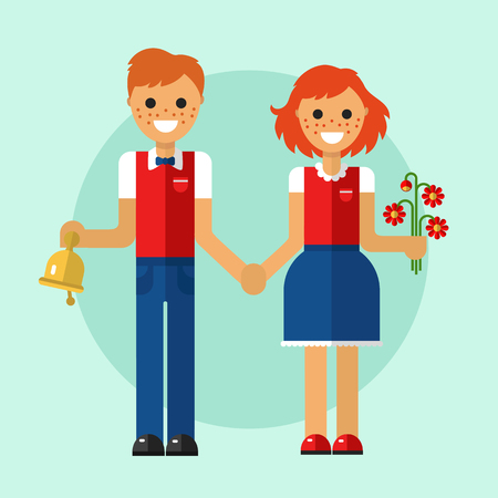 girl wearing glasses: Flat design illustration of funny smiling boy and girl in school uniform holding their hands and going to school with bouquet of flowers and bell. Back to school concept. Illustration