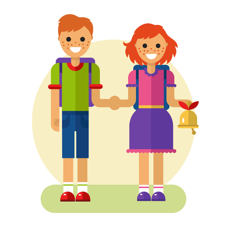 Flat design illustration of funny smiling boy and girl holding their hands and going to school with backpack and bell. Back to school concept.