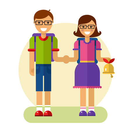 Flat design illustration of funny smiling boy and girl in glasses holding their hands and going to school with rucksack and bell. Back to school concept. Illustration