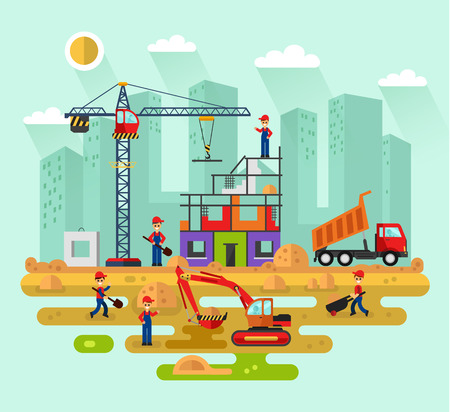 Flat design landscape illustration of construction process in the city.