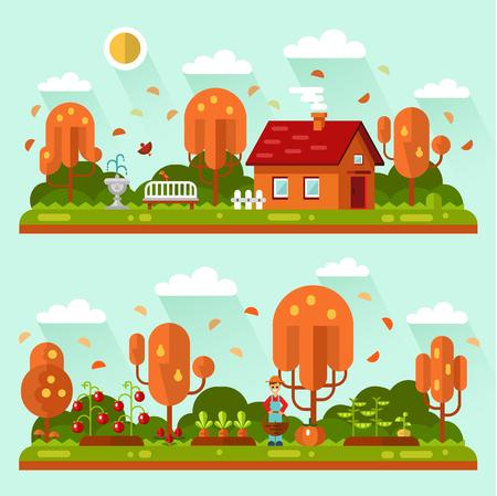 Flat design autumn landscape illustrations