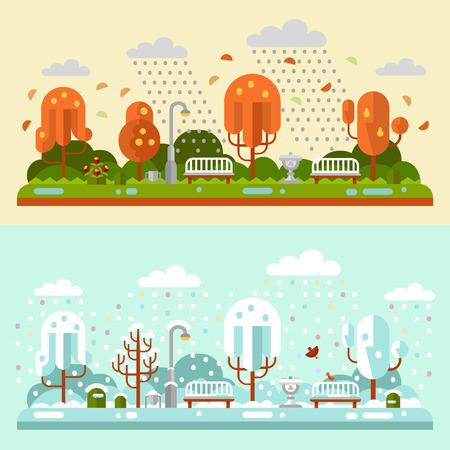 green lantern: Flat design nature winter and autumn landscapes illustrations of park