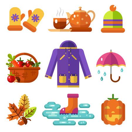Flat design icons set of autumn symbols