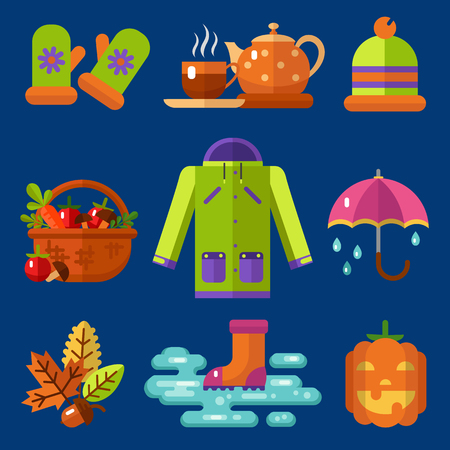 Flat design icons set of autumn symbols