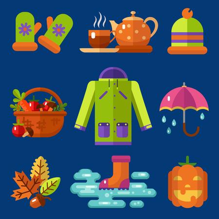 umbel: Flat design icons set of autumn symbols