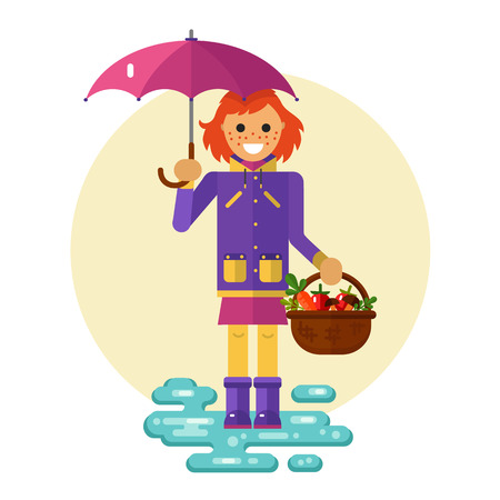 Flat design illustration of funny smiling girl in jacket and rubber boots holding umbrella and basket with vegetables