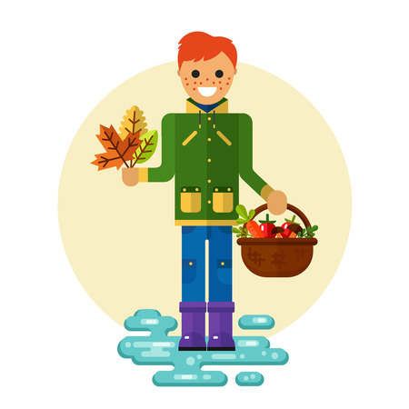 Flat design illustration of funny smiling boy in jacket and rubber boots holding bunch of leaves and basket with vegetables Illustration