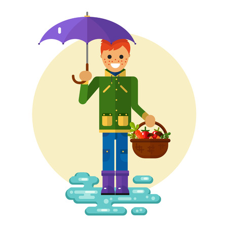 Flat design illustration of funny smiling boy in jacket and rubber boots holding umbrella and basket with vegetables