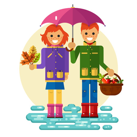 Flat design illustration of funny smiling boy and girl in jackets and rubber boots holding umbrella