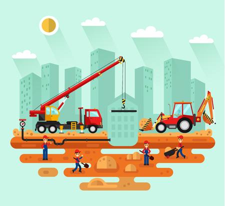 Flat design landscape illustration of construction process in the city Illustration