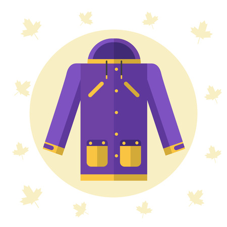 weatherproof: Flat design illustration of raincoat or jacket for autumn or spring seasons