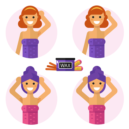 armpits: Flat design illustration of armpits with waxing and wax strips