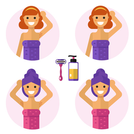 armpits: Flat design illustration of armpits with razor and soap or gel