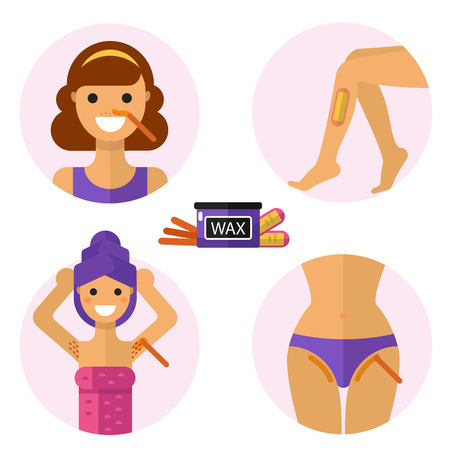 waxing: Flat design illustration of hair removal zones with waxing and wax strips