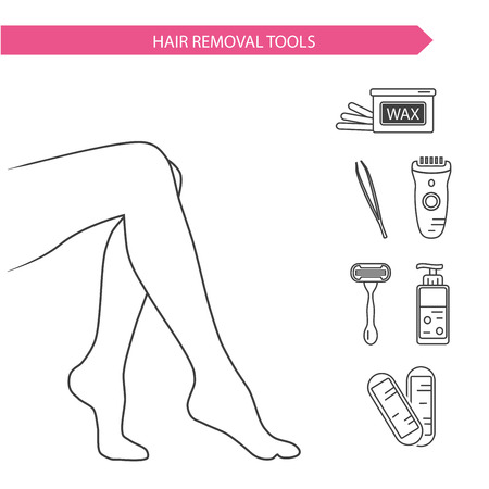 smooth legs: line style illustration and icons of epilation and depilation