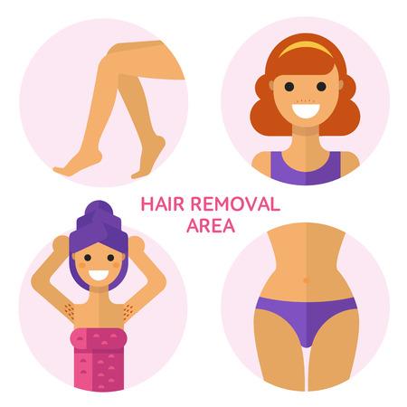 Flat design illustration of hair removal, epilation or depilation area