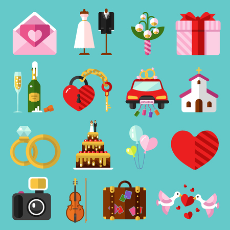 Flat design icons set of wedding or marriage 向量圖像