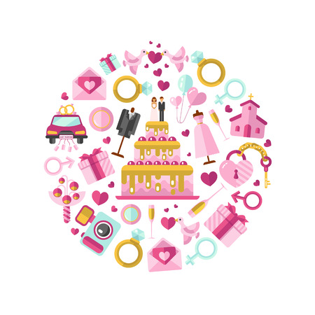Flat design illustration of wedding or marriage