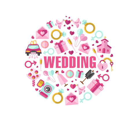 Flat design illustration of wedding in round shape
