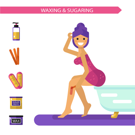 hot girl legs: Vector flat design illustration of epilation or depilation procedure. Beautiful smiling girl in towels depilating legs with hot wax or sugar. Bottle sugaring, wax strips icons.