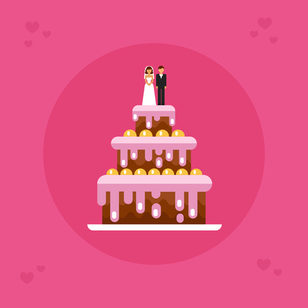 Flat design vector icon of tasty wedding cake with the groom and bride on top. Save the date. Sweet food and dessert illustration for card and banner.