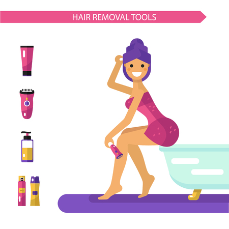 Vector flat design illustration of epilation or depilation procedure. Beautiful smiling girl in towels depilating legs with electric epilator. Shaving foam and gel bottles, cream icons. 向量圖像