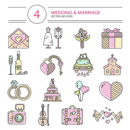 Vector modern line style icons set of wedding or marriage. Invitation, bridal bouquet, rings, champagne, bride, groom, cake, gift box, lock and key, birds, car, music, church, heart, camera, baggage. 向量圖像